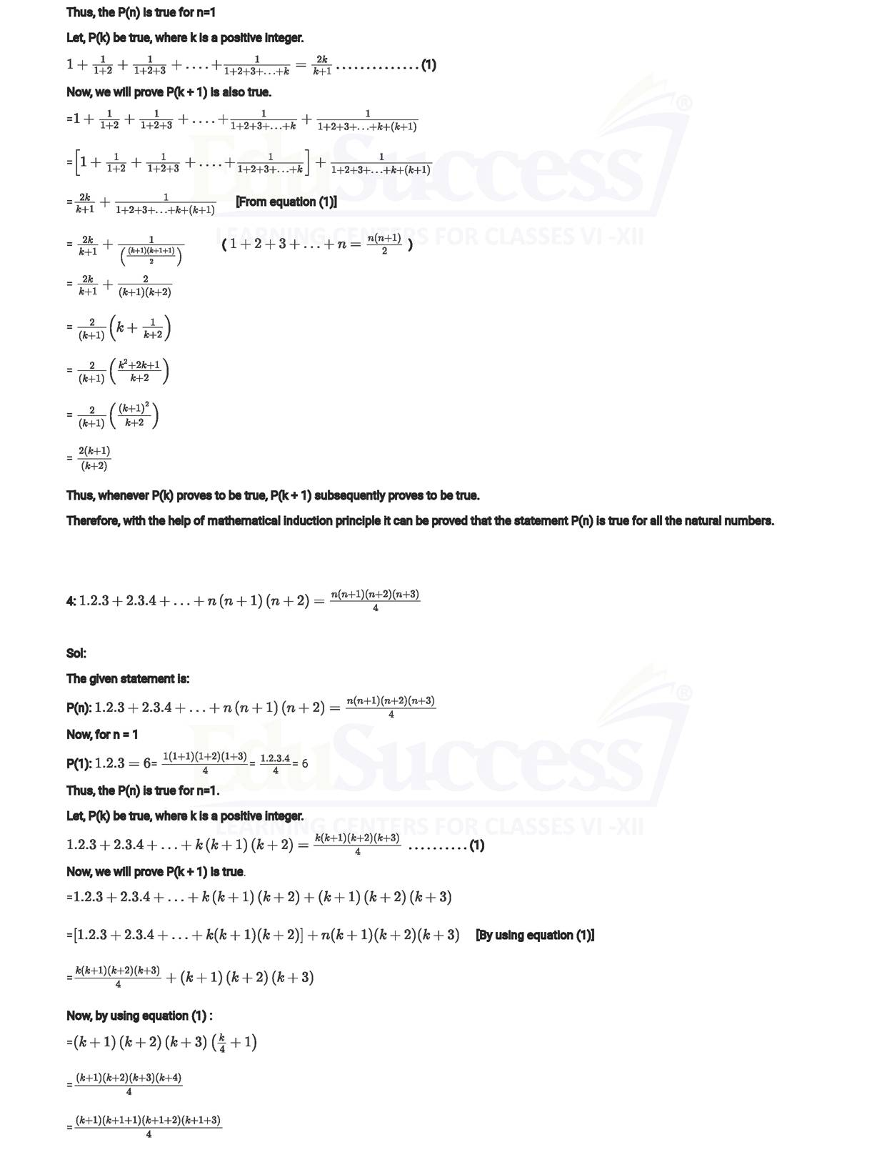Chapter 4 : Principle of Mathematical Induction (PMI)| Class