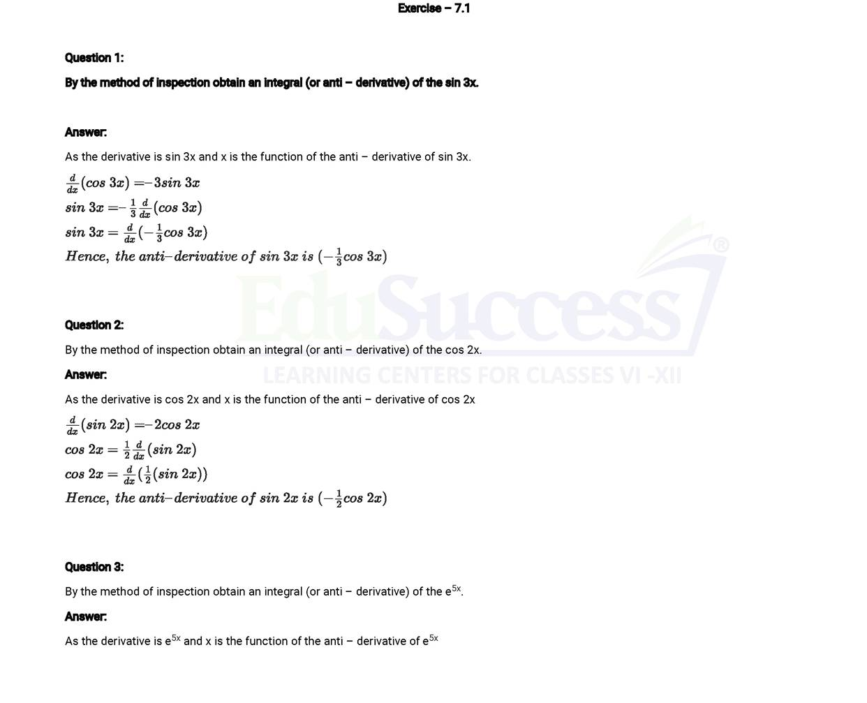 NCERT Solutions for Chapter 7 Indefinite and Definite